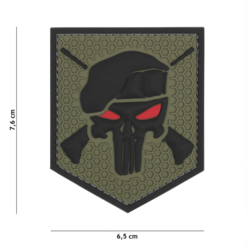 Nášivka Punisher Commando Oliv - VELCRO - 3D PVC